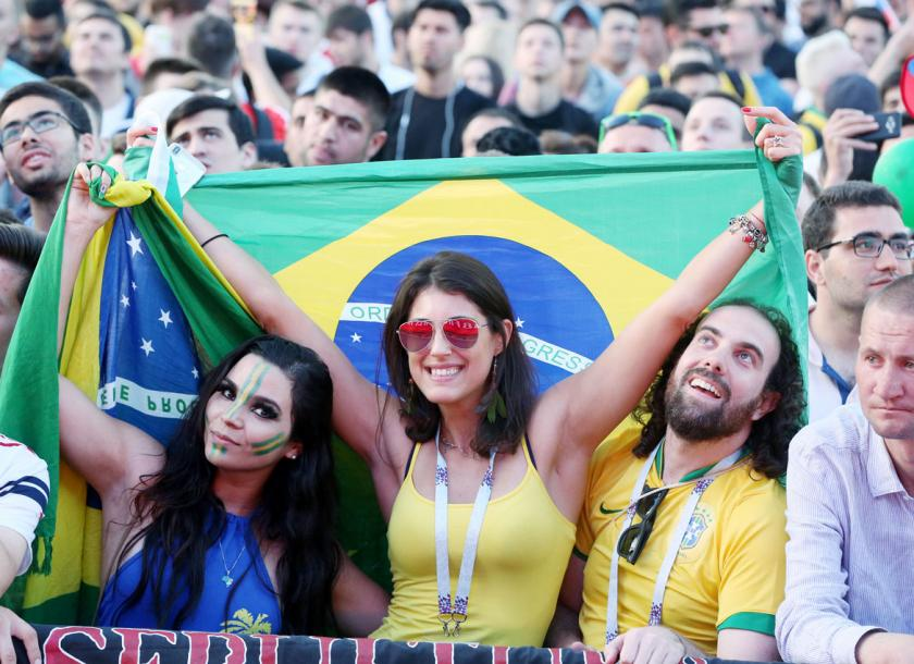 1c57dc174 Fans of Brazil watch the FIFA World Cup 2018 Group E soccer match between  Brazil and