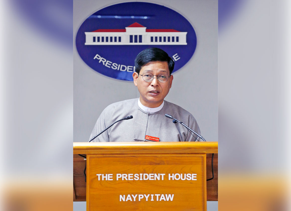 President's Office spokesperson Zaw Htay talks about the northern Rakhine crisis during a press briefing on Friday. Photo - EPA