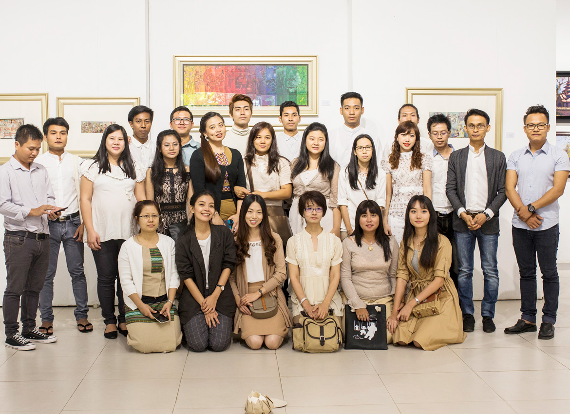 The master (second from the right) and his students. Nyan Zay Htet/The Myanmar Times